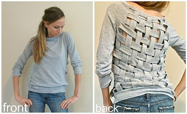 Cut and weave the back of a shirt!