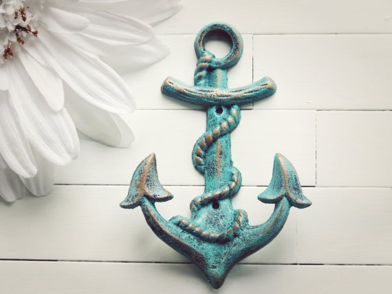Cast Iron Anchor / Beach Decor / Pool Decor / Anchor Decor Nautical /…