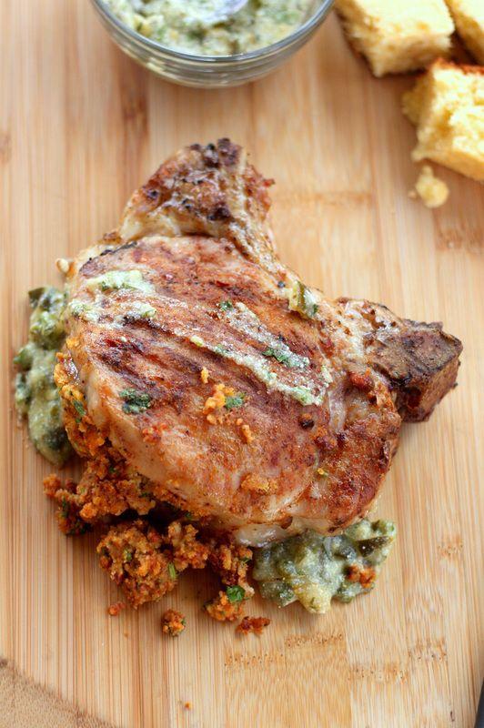 Chorizo-Cornbread Stuffed Pork Chops with Poblano Cream Sauce | Drool ...