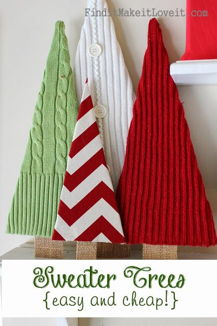 Sweaters repurposed into tree home decor for Christmas great kid craft! Christmas 2014!