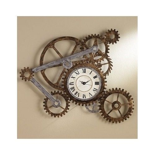 Wall Clock Unique Novelty Decorative Gears Rustic Large