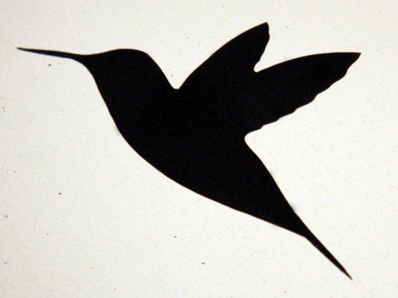 VELVET HUMMINGBIRD SILHOUETTE BIRD CARD by SeventhLife on Etsy