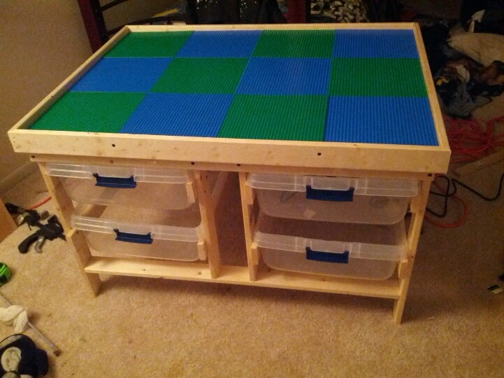 Diy lego table for my son for christmas lego storage for Table building ideas