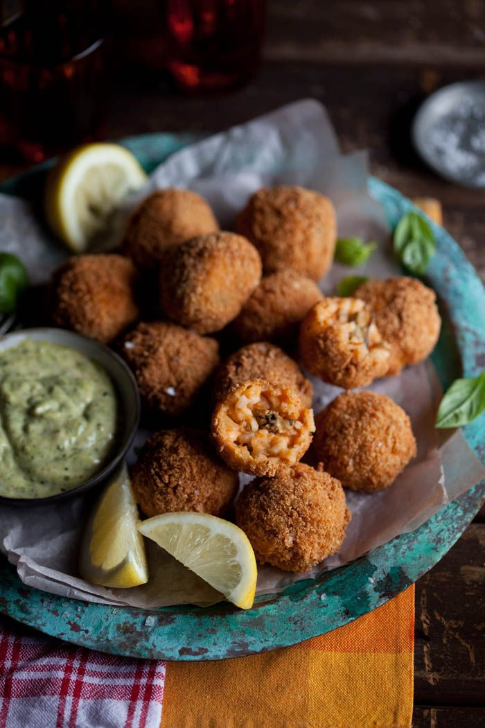crispy fried roasted tomato risotto balls with smoked mussels- mius ...