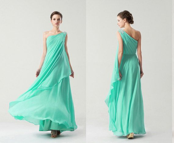 One Shoulder Long Aqua Chiffon Prom Dress, Pastel Green One Shoulder ...