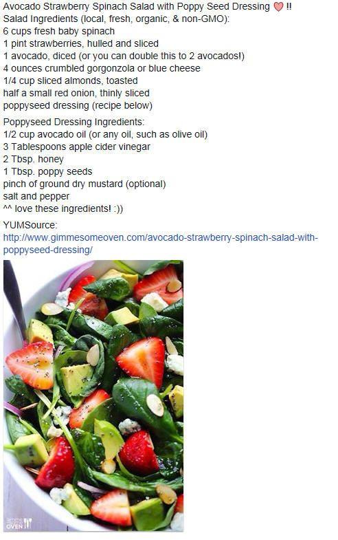 Avocado, Strawberry, Spinach Salad | Yummy Salads, Slaws, Salsas, dre ...
