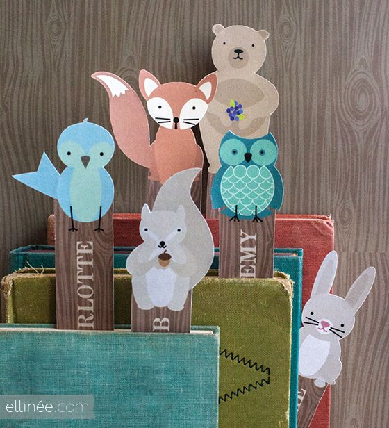 Free Printable Woodland Friends Bookmarks / the elli blog