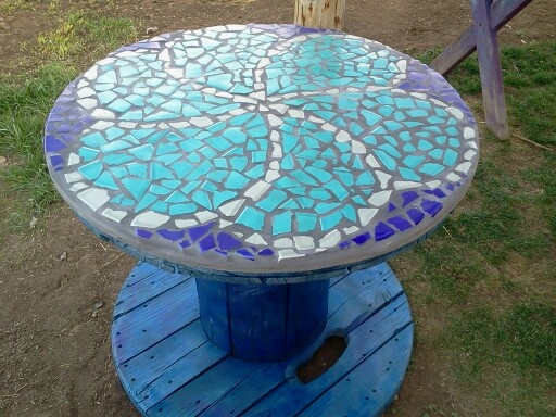 Bring new life to an old Cable Spool. Mosaic tile design and a little ...