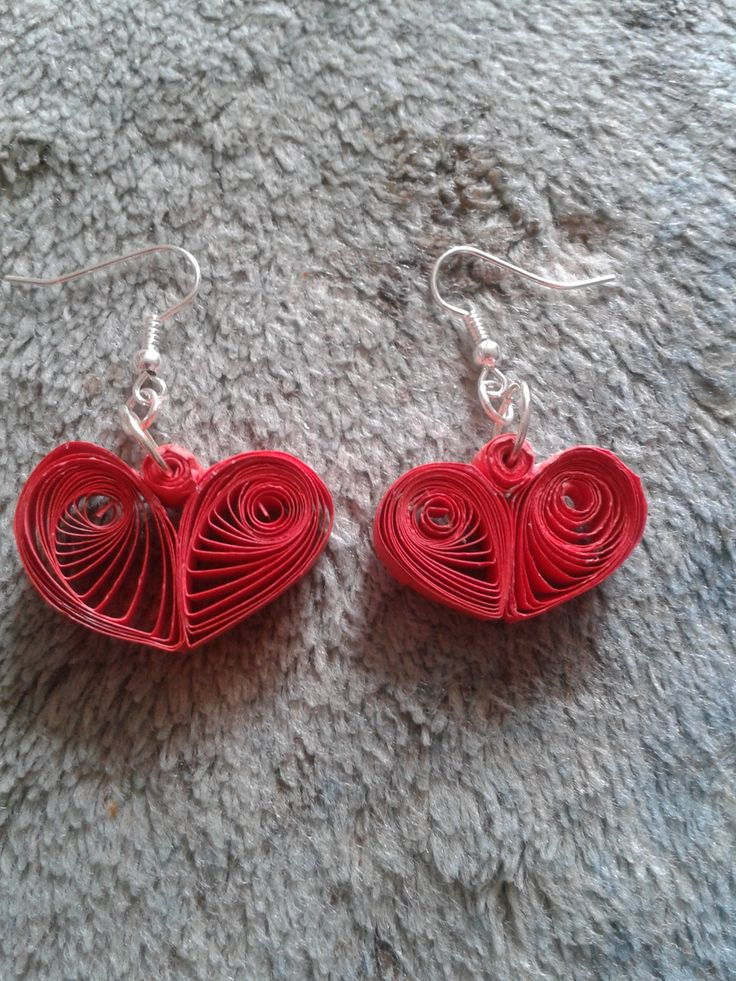 Quilled heart earrings I made | Crafts I made | Pinterest