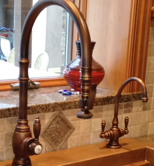 This antique copper Waterstone faucet is truly modern! The traditional