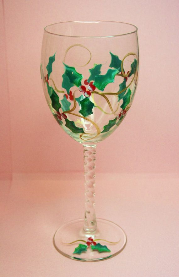 Hand painted wine glass christmas holly personalized Images of painted wine glasses