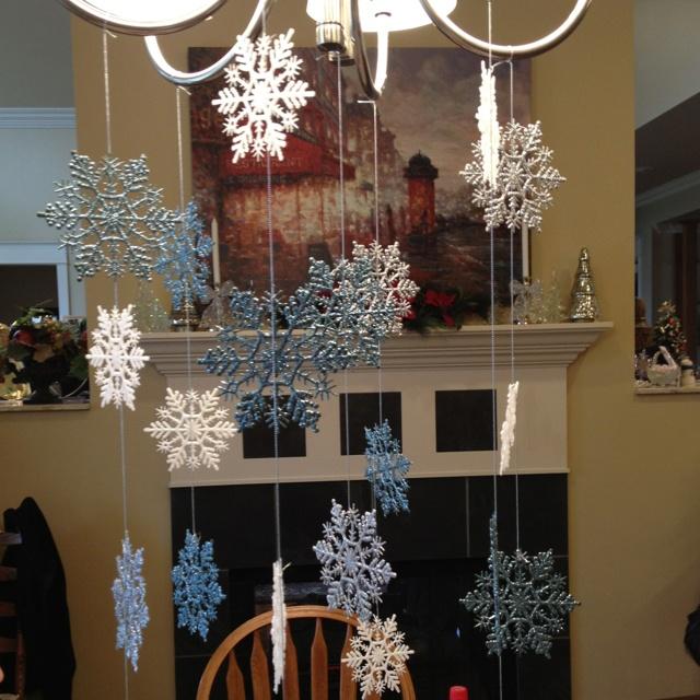 Snowflake chandelier decoration christmas decorating for Christmas chandelier decorations ideas