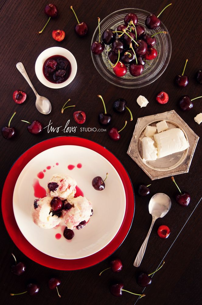 Goats Cheese Ice Cream with Roasted Red Cherries