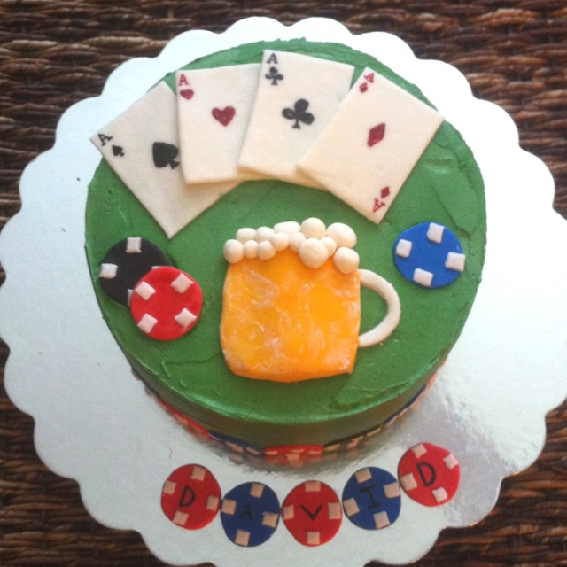 Poker Cake! 4 layered Devils Food Cake with Chocolate Buttercream and ...