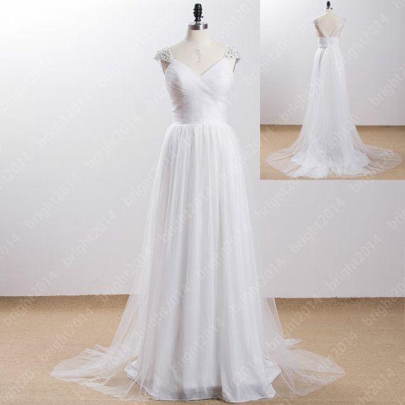 Simple Beach Style Wedding Dress : Simple white beach wedding dresses style bridal v neck c