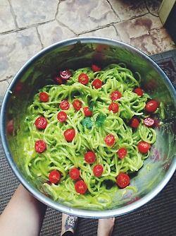 veggiesandtea:Cucumber noodles with mango cilantro sauce and cherry tomatoes :)