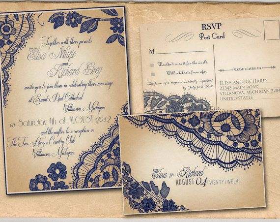 Printable VINTAGE WEDDING INVITATIONS Template  Navy by ABandIG, $20.00 You can do hot pink lace and black writing...$20 and then printing cost... super cheap