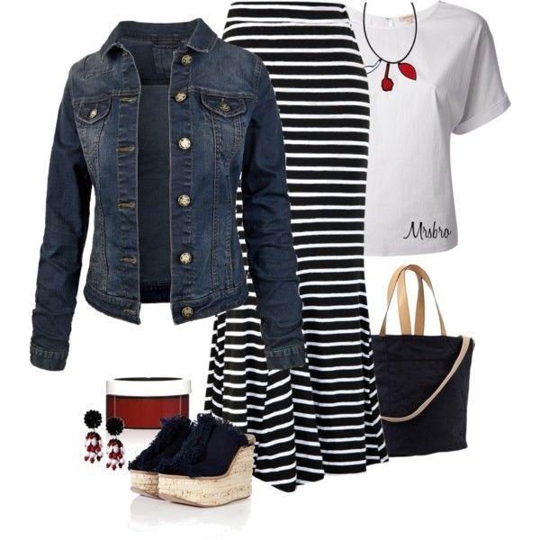 maxi skirt denim jacket my style