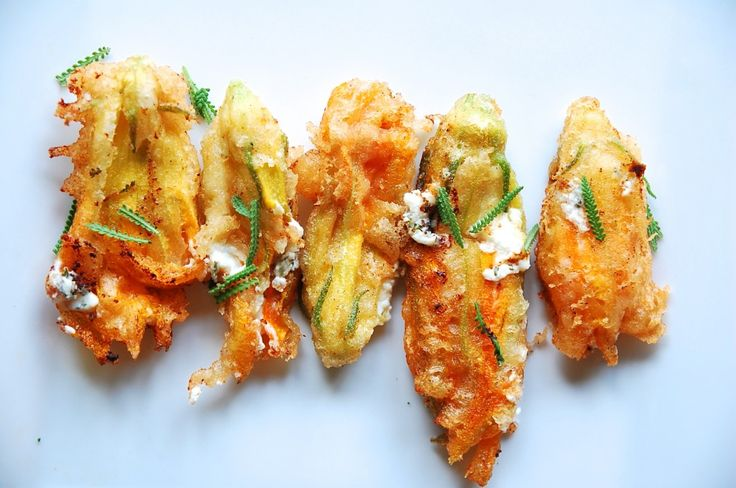 Lavender, Honey, and Goat Cheese Stuffed Squash Blossoms