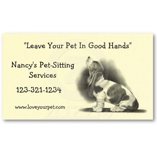 Basset hound pet sitting business card pencil for Pet business cards