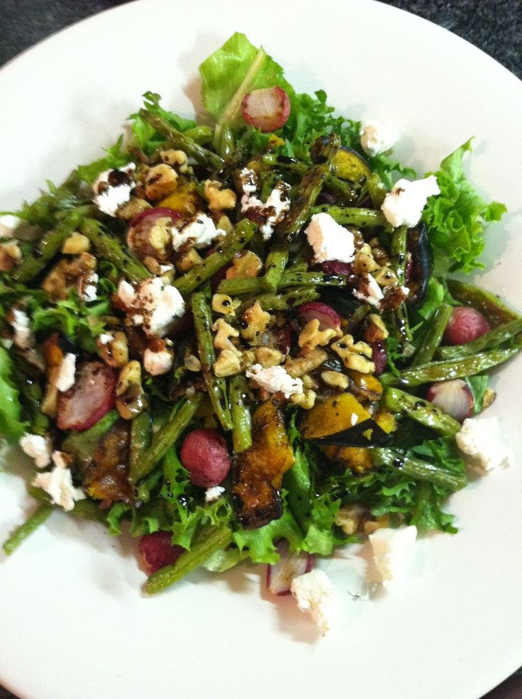 , and roasted green beans, with toasted walnuts and fresh goat cheese ...