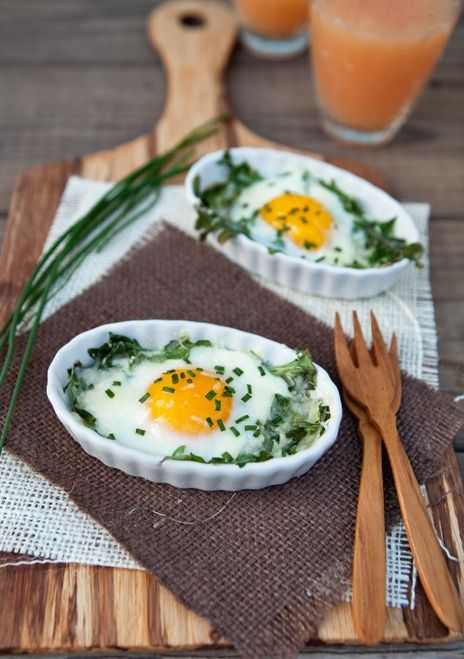 Arugula and Chive Baked Egg Cups | Recipe