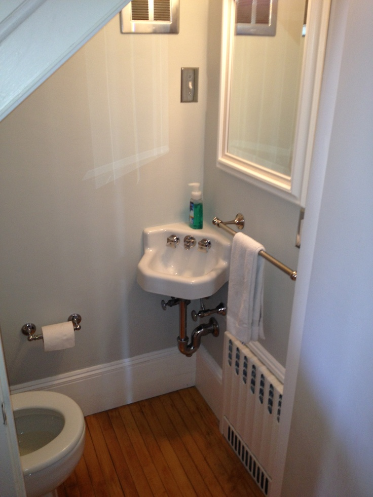 cute half bath tucked under stairs bathroom pinterest