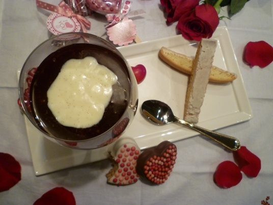 Red Wine Tapioca Pudding with Vanilla Bean Sauce and Lemon Biscotti