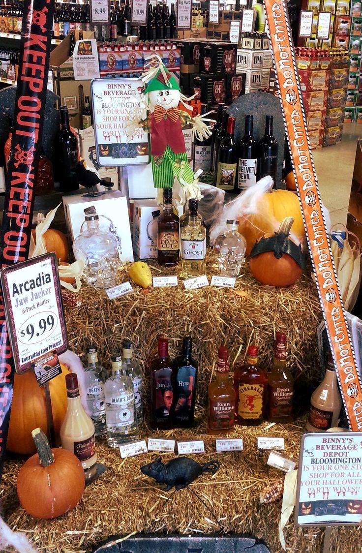 Halloween wine and liquor display