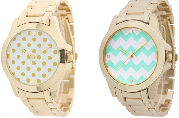 These are fun!! Mint Chevron & Gold Polka Dot Watches!