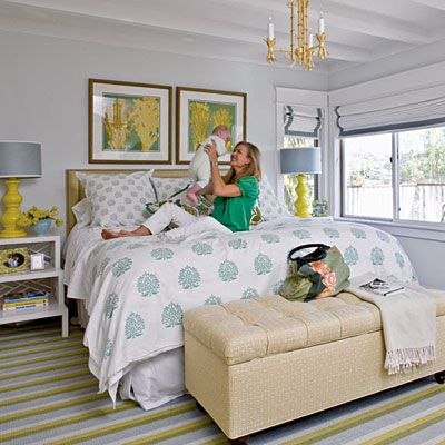 Coastal-style bedroom - I like the patterned comforter and playful/cheery colors