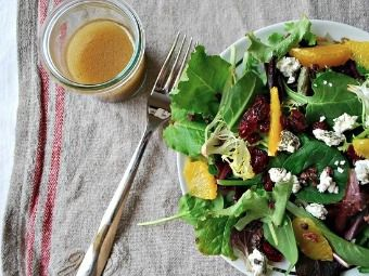 ... Greens with Cranberries and Cocoa Nibs and Orange Balsamic Vinaigrette