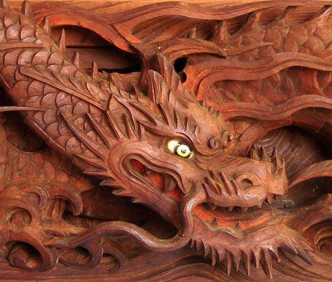 Antique japanese temple dragon carving dragons