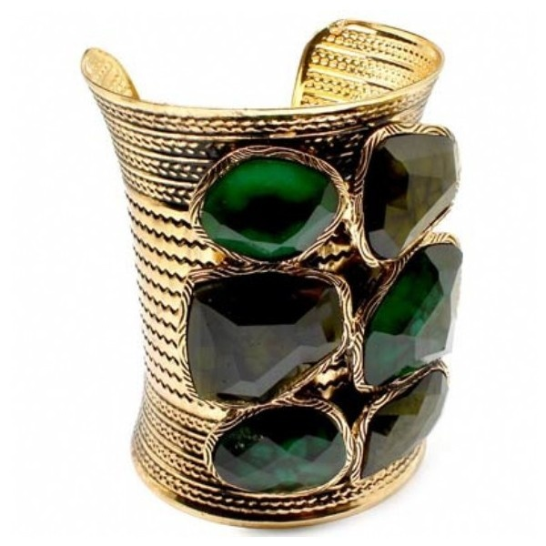 Melecias Tall Chunky Green Stone Embellished Gold Cuff - As Seen on The Today Show