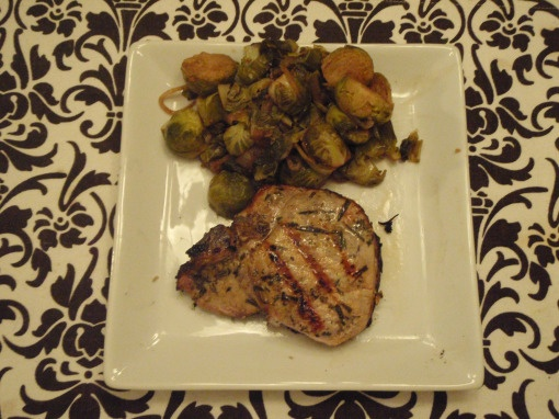 Rosemary and Garlic Pork Chops and Brussel Sprouts