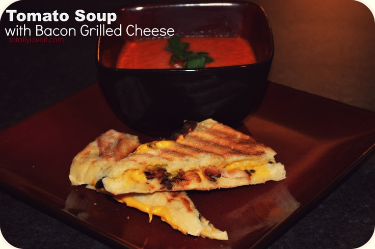 Rainy Day? Try this easy Tomato Soup with Bacon Grilled Cheese. Click ...