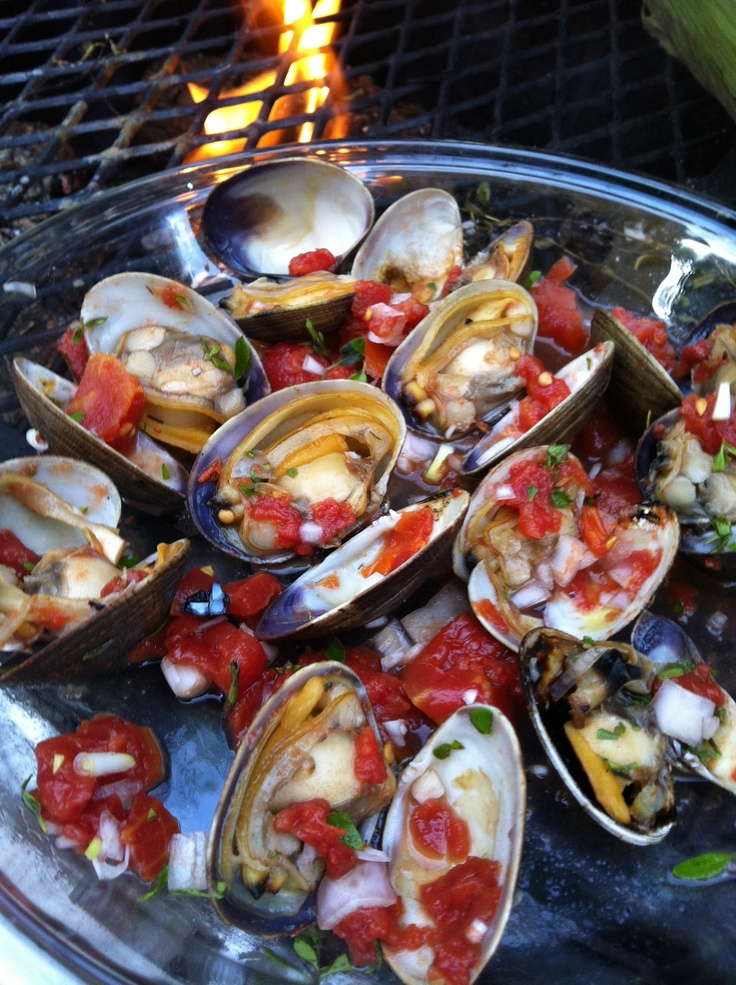 Grilled Tequila Clams. Pecan smoke, Tequila, Mexican Oregano, Tomato ...