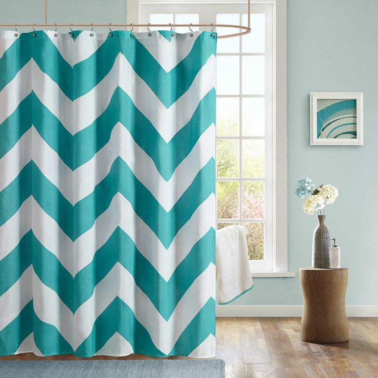 New Chevron Microfiber Shower Curtain Teal White Modern Bathroom De