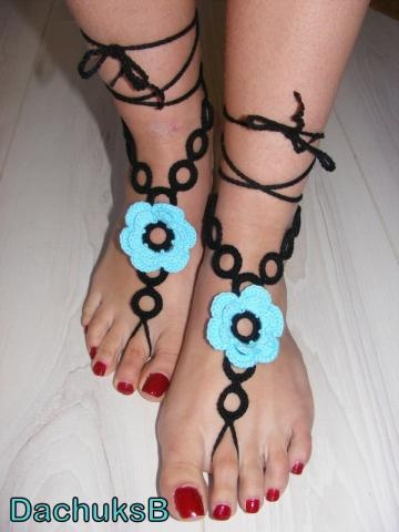 Hand crochet pure cotton sexy barefoot sandals blue-black (nr 23) by DachuksB for $12.00