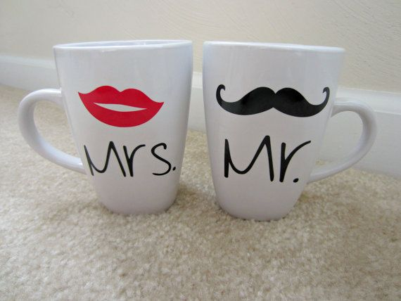 his and hers coffee mug set mr and mrs mugs mustache. Black Bedroom Furniture Sets. Home Design Ideas