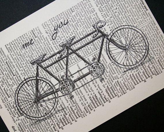 Tandem bike print:  me / you