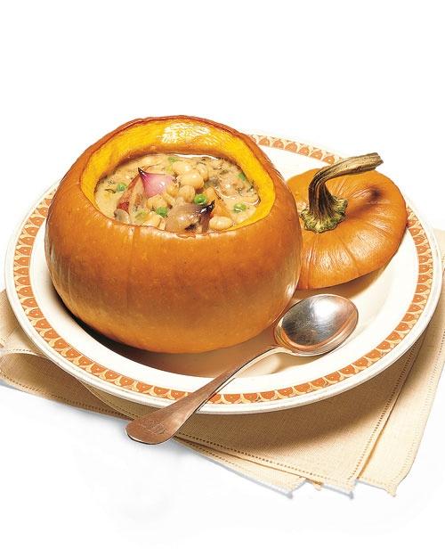 White Bean and Sausage Stew in Pumpkin Bowls http://www.marthastewart ...