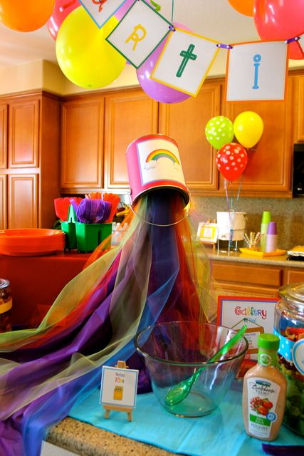 Art party birthday party ideas for Art deco party decoration ideas