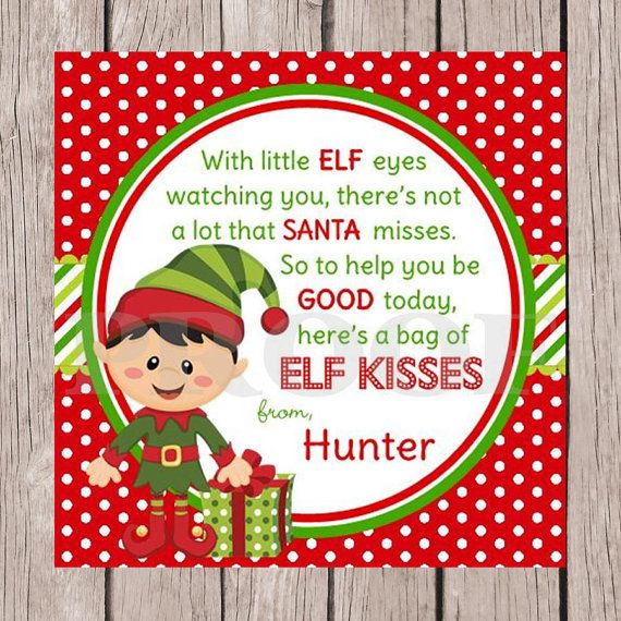 PRINTABLE Elf Kisses Holiday Favor Tags - Choose Boy or Girl Elf ...