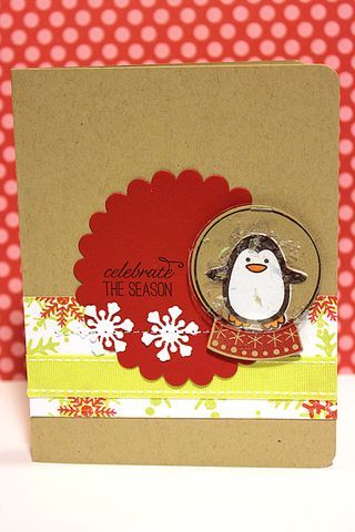 Winter Penguin Snow Globe Card by Heather Nichols for Papertrey Ink (September 2012)