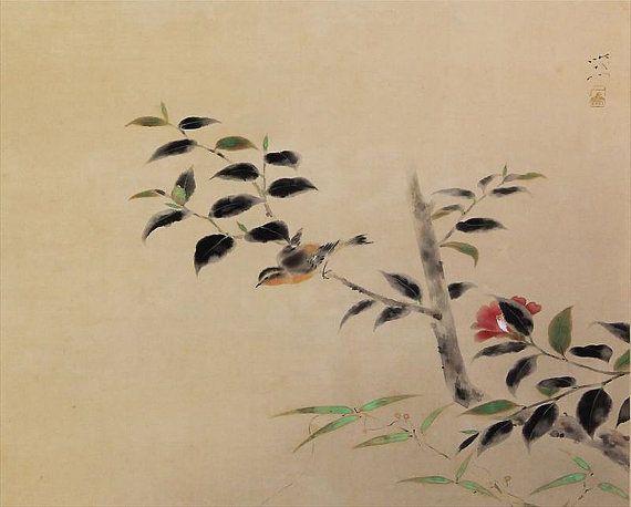 Flores y arte japonés vintage pergamino de pintura de aves