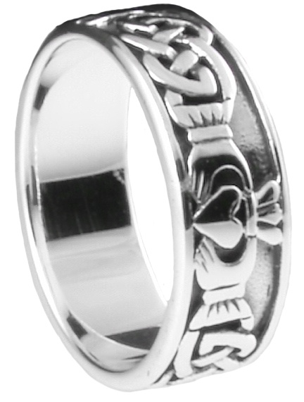 silver irish celtic claddagh mens ring jewelry pinterest. Black Bedroom Furniture Sets. Home Design Ideas