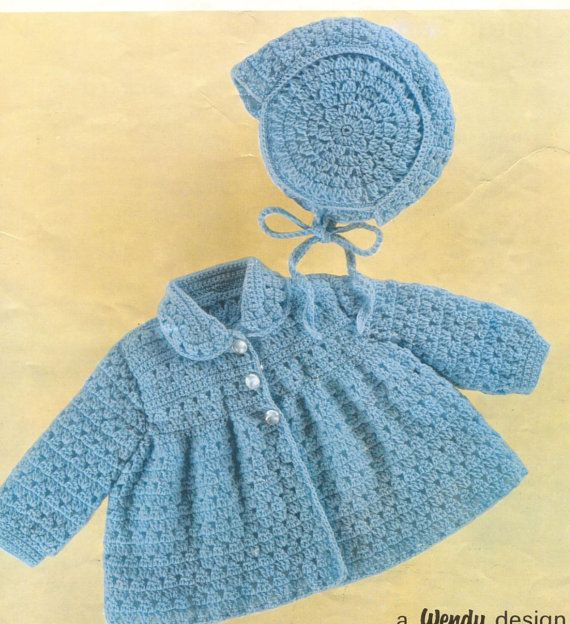 Crochet Baby Coat Pattern : Baby CROCHET PATTERN - Matinee Jacket and Bonnet - Bebe ...