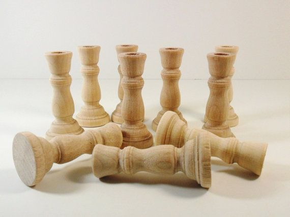 Candlesticks 3 wood candle holders unfinished set of 10 - Unfinished wood candlestick holders ...