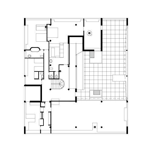 VIlla Savoye  second-floor planVilla Savoye 2nd Floor Plan